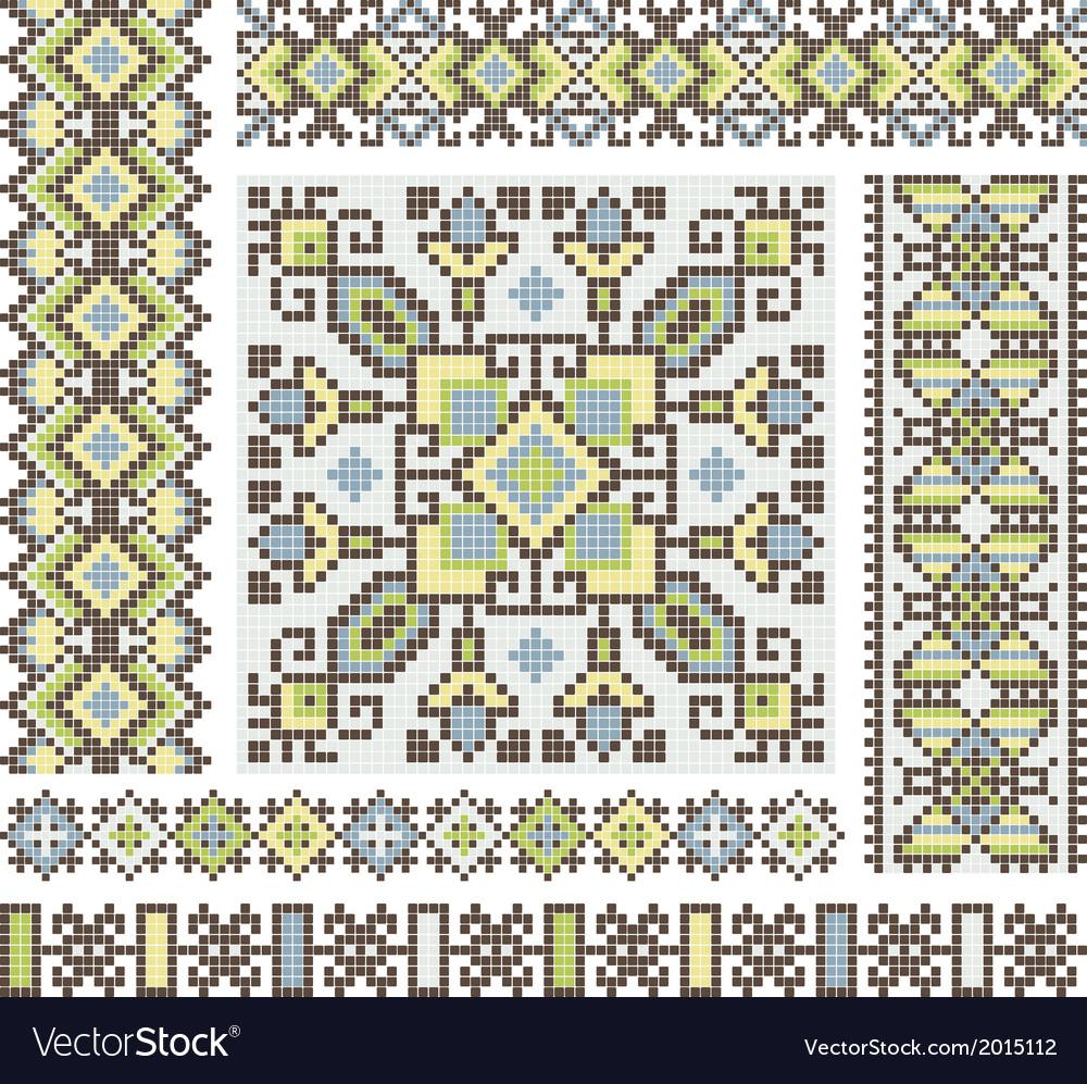 Embroidered good like handmade cross-stitch vector | Price: 1 Credit (USD $1)