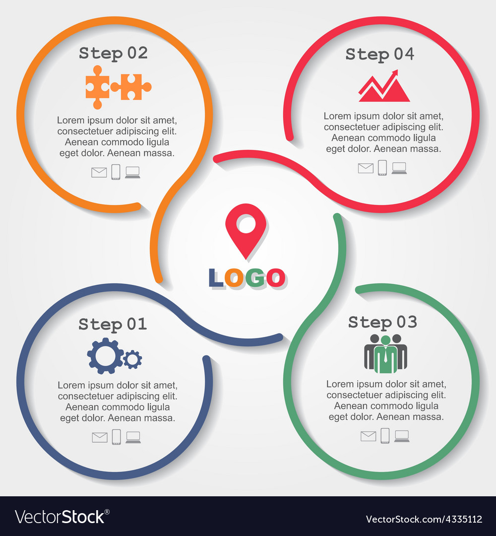 Infographic report template with lines and icons vector | Price: 1 Credit (USD $1)