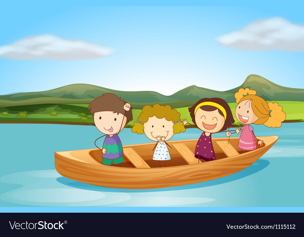 Kids on a boat vector | Price: 3 Credit (USD $3)
