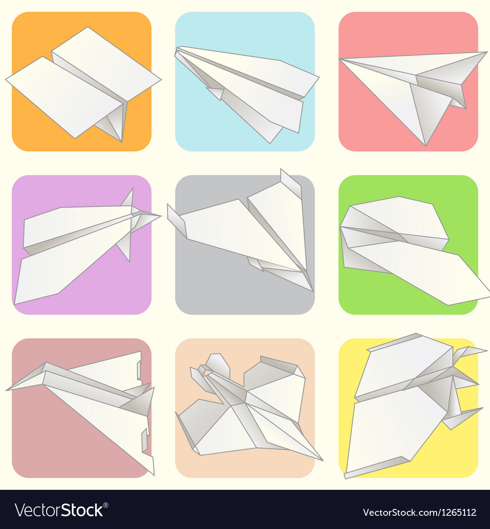 Paper plane model collection set vector | Price: 1 Credit (USD $1)