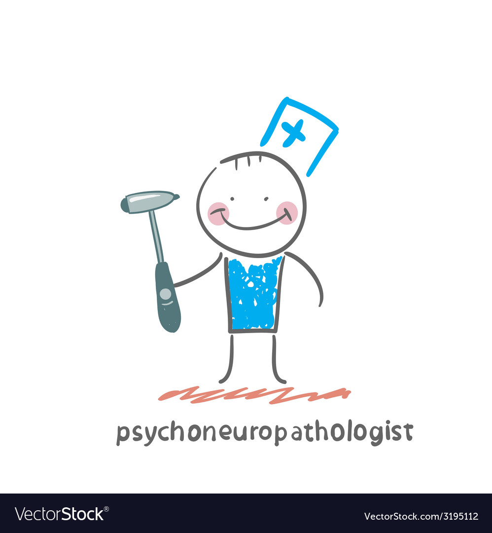 Psychoneuropathologist stands with a hammer in his vector | Price: 1 Credit (USD $1)
