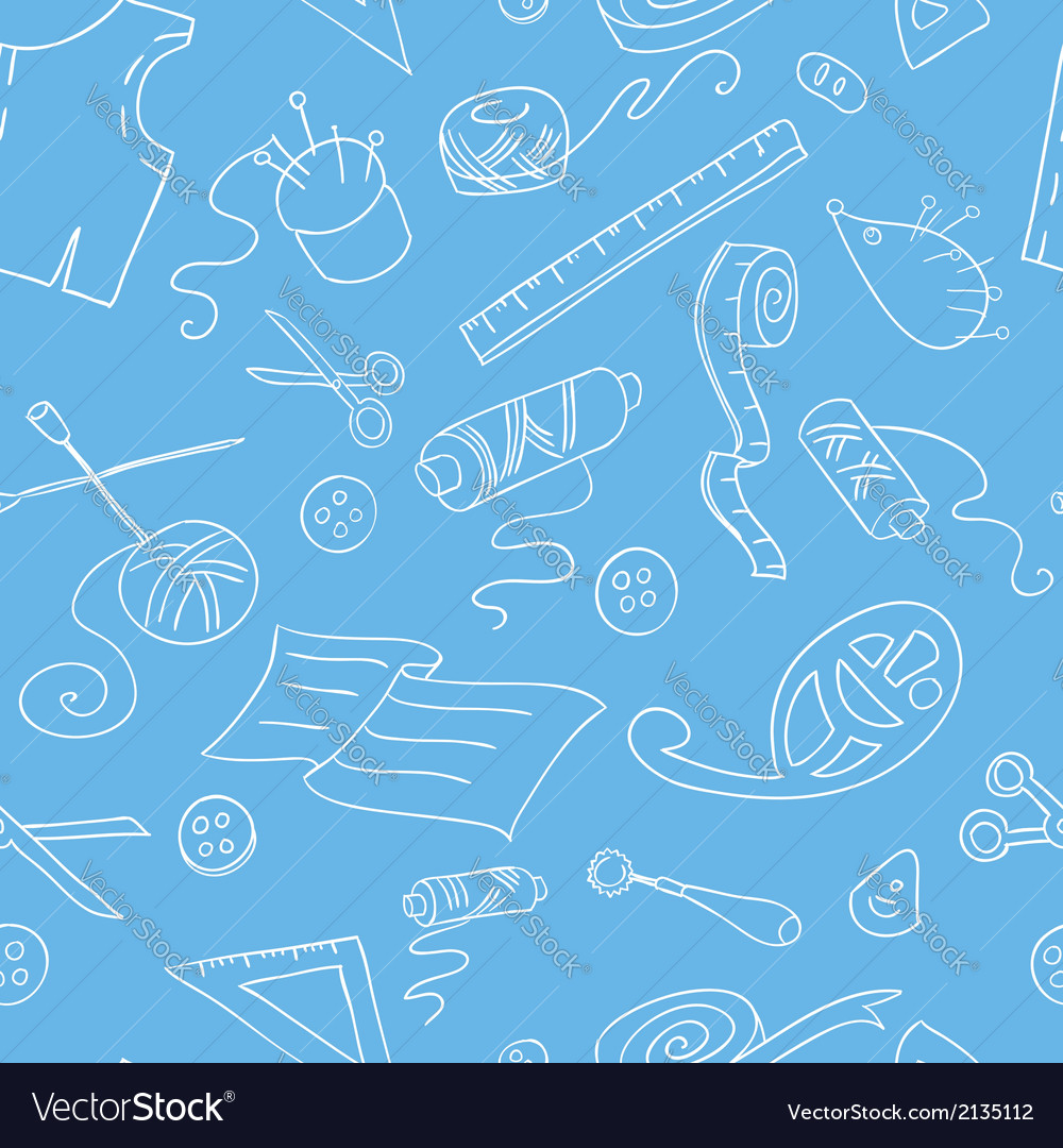 Seamless background with sketches of sewing tools vector | Price: 1 Credit (USD $1)