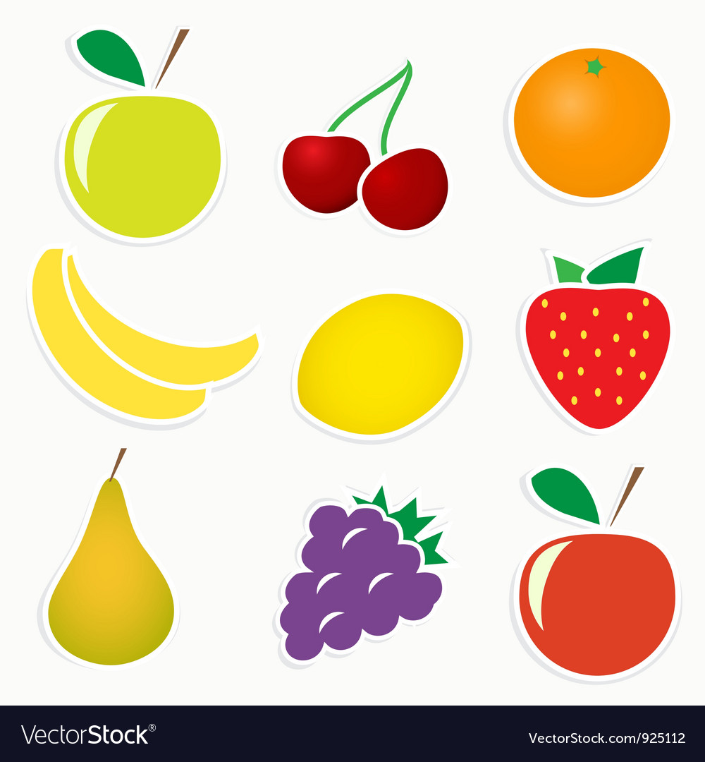 Set of 9 sticky fruitss vector | Price: 1 Credit (USD $1)