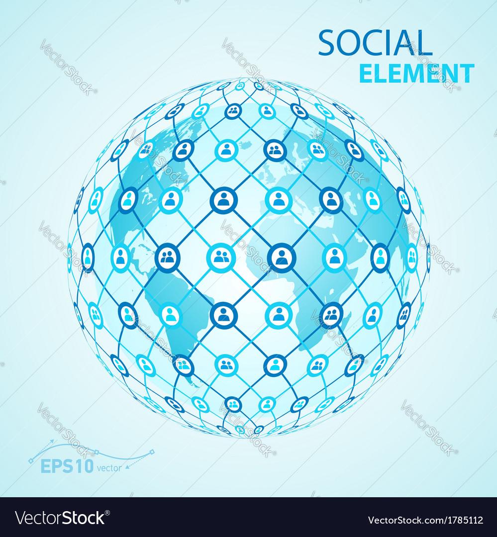 Social element globe worldwide vector | Price: 1 Credit (USD $1)