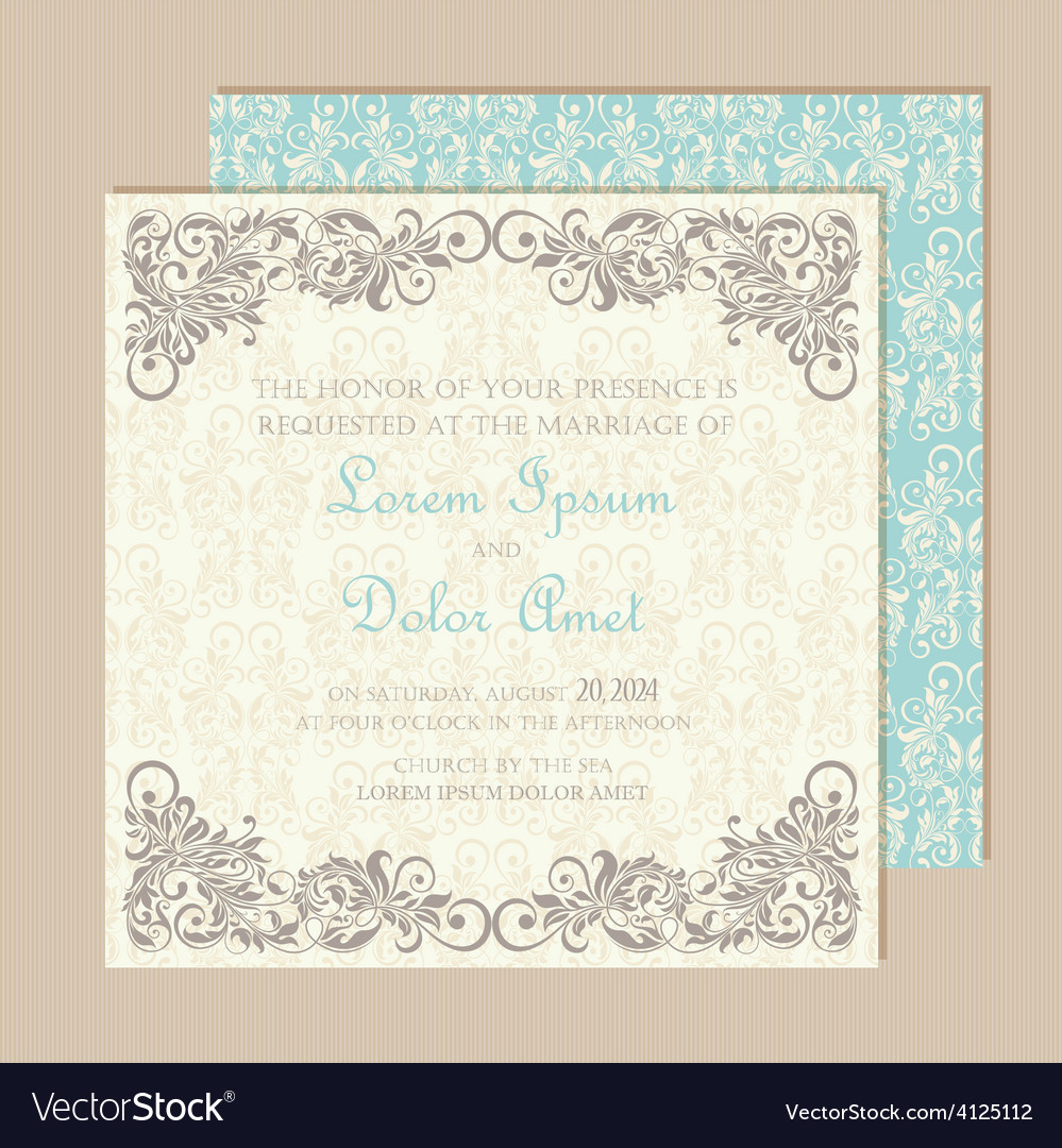 Wedding vintage invitation vector