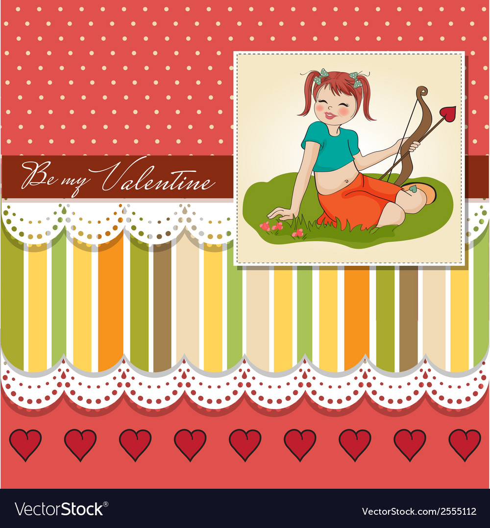 Young pretty girl with cupid bow valentines day vector | Price: 1 Credit (USD $1)