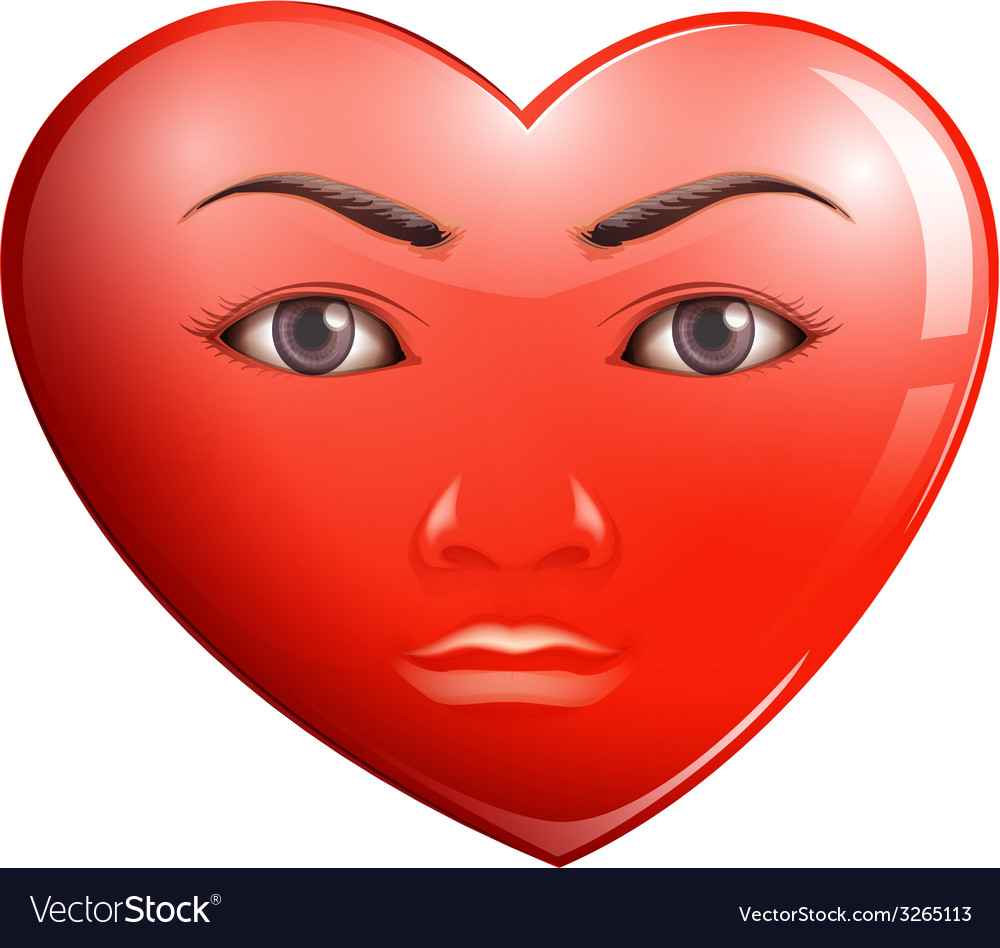 A heart with a face vector | Price: 1 Credit (USD $1)