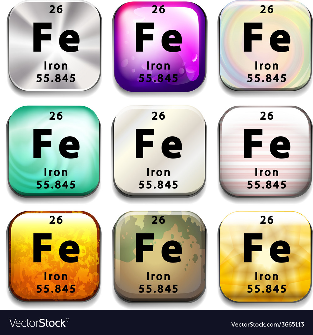 A periodic table button showing iron vector   Price: 1 Credit (USD $1)