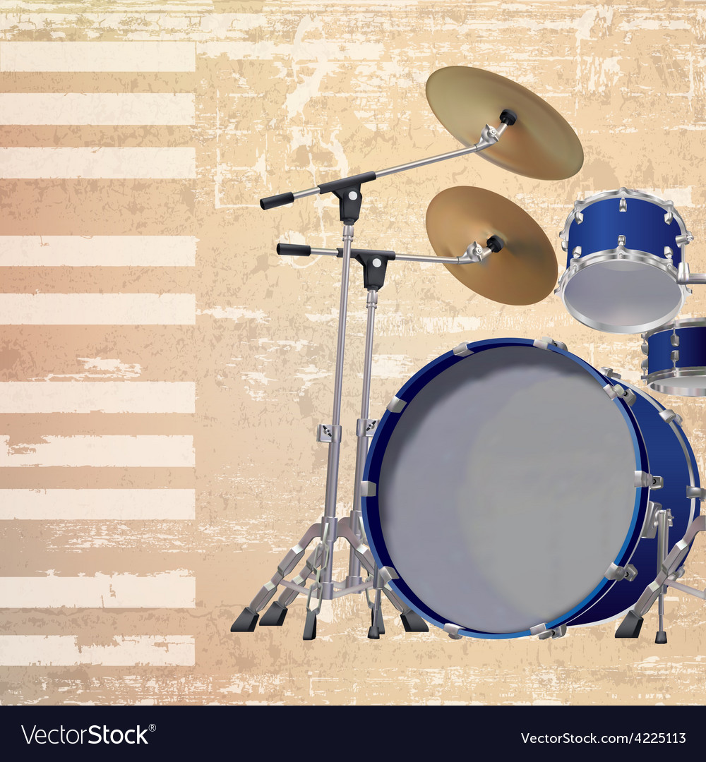 Abstract beige grunge background with drum kit vector | Price: 3 Credit (USD $3)