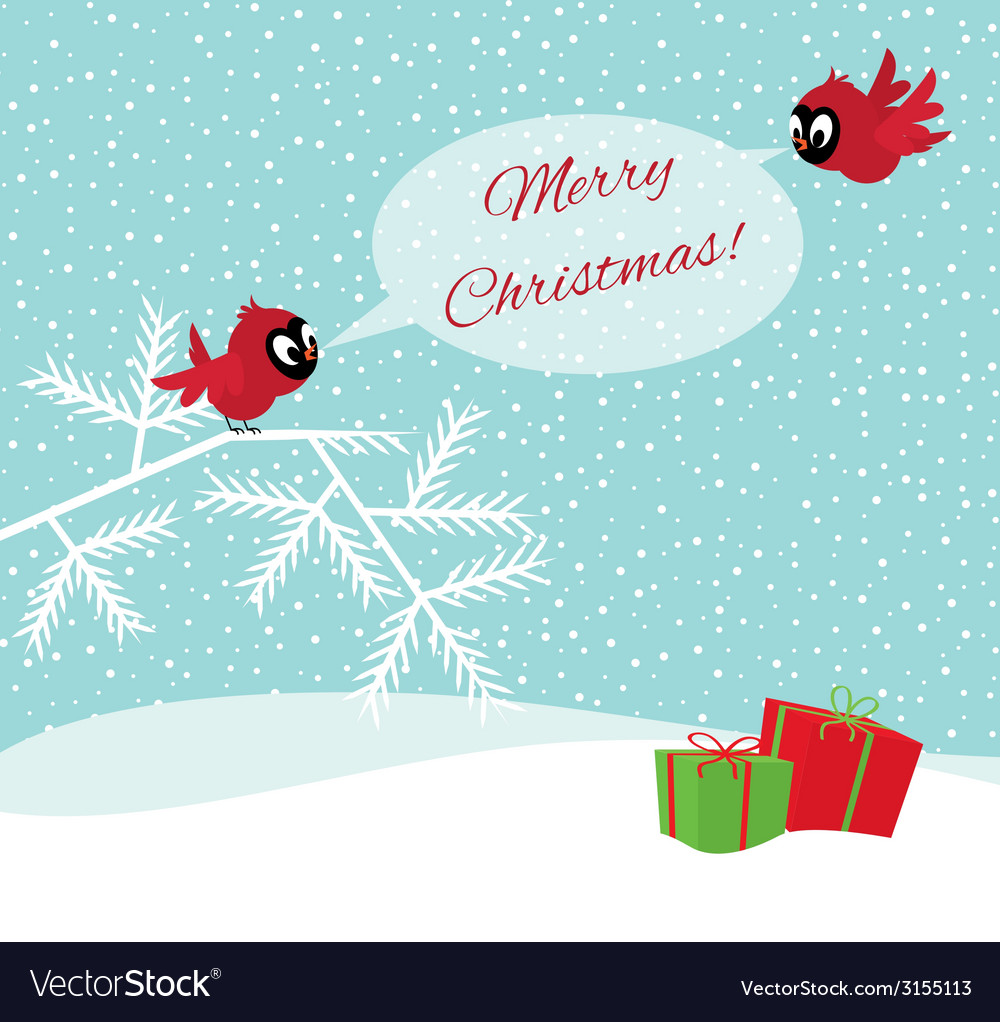 Birds in winter forest wish merry christmas vector | Price: 1 Credit (USD $1)