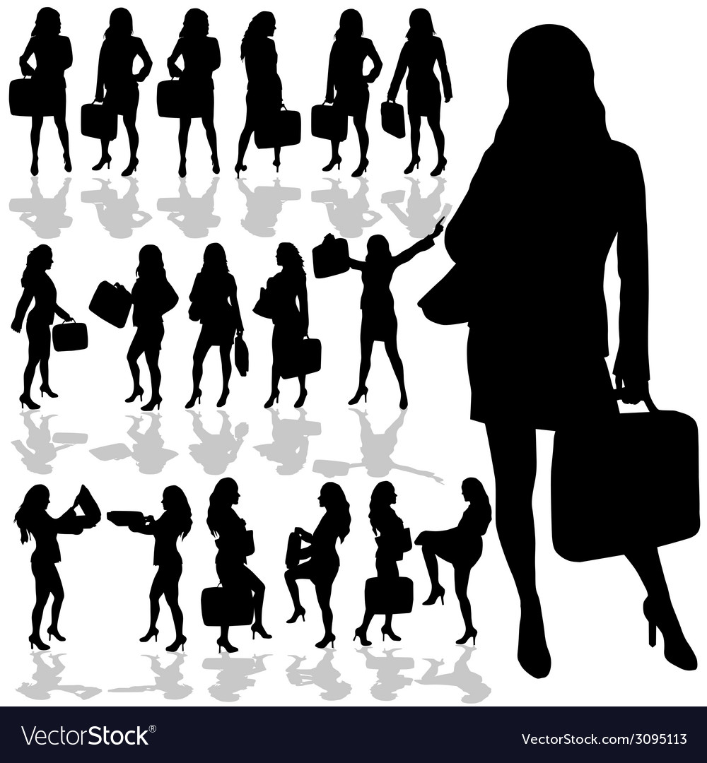 Business woman with a bag black silhouette vector | Price: 1 Credit (USD $1)