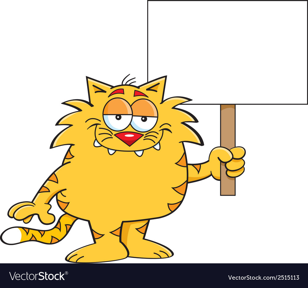 Cartoon cat with sign vector | Price: 1 Credit (USD $1)
