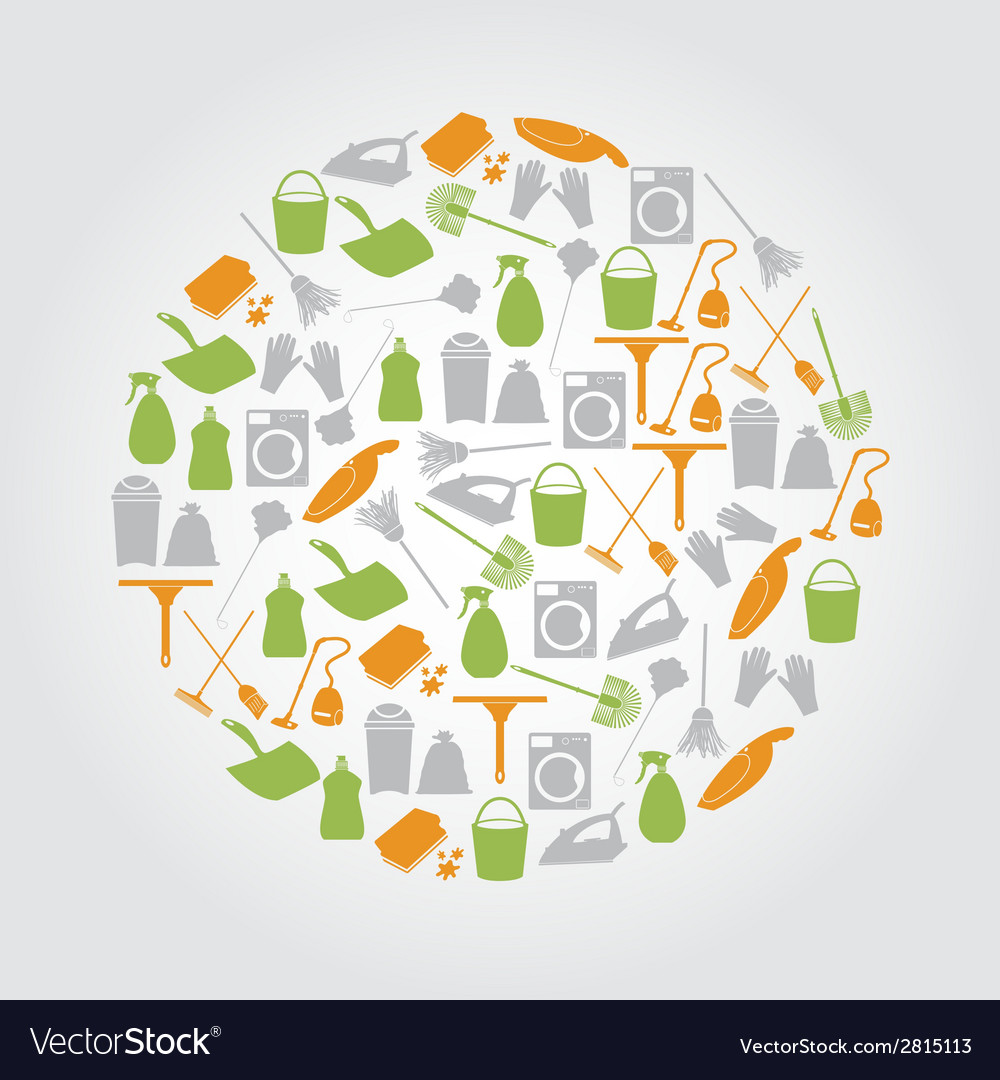 Cleaning icons set in circle eps10 vector | Price: 1 Credit (USD $1)