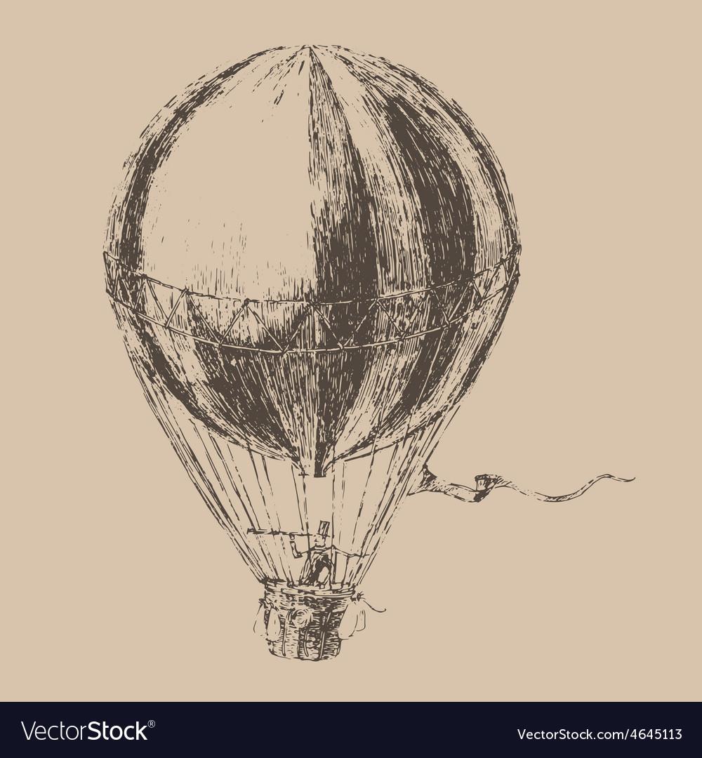 Engravings airship balloon style hand drawn vector | Price: 1 Credit (USD $1)