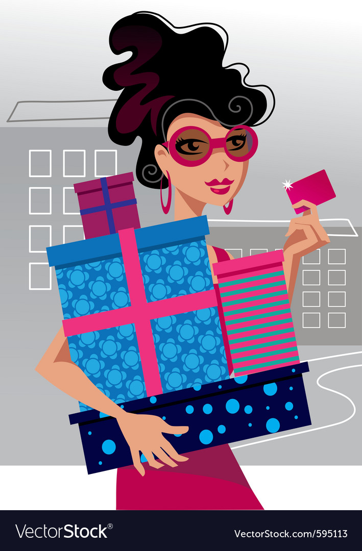 Fashion shopping girl vector | Price: 3 Credit (USD $3)