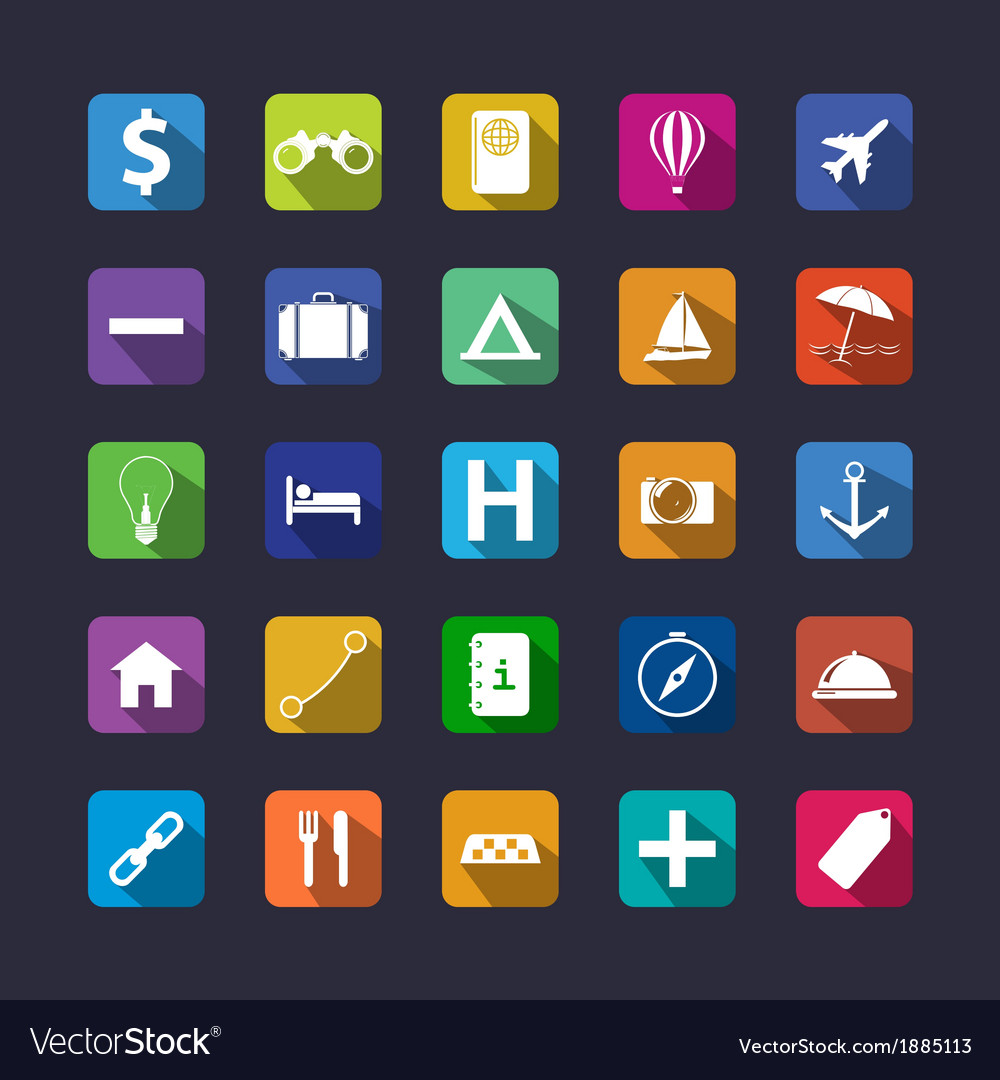 Flat travel icon set with shadow vector | Price: 1 Credit (USD $1)