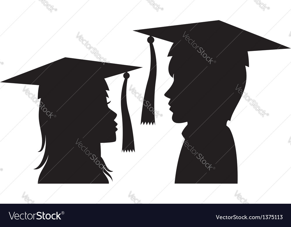 Graduates young man and woman vector | Price: 1 Credit (USD $1)