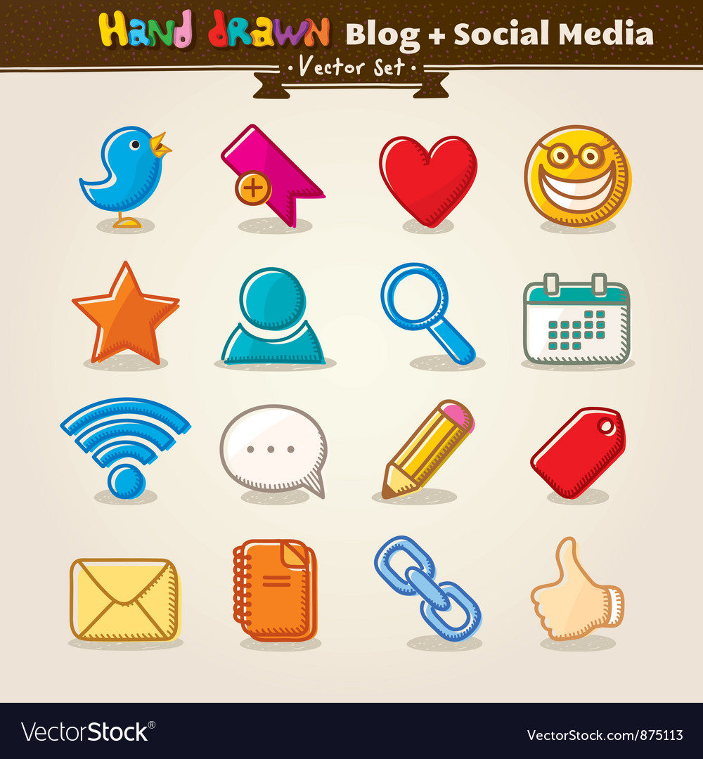 Hand draw blog and social media icon set vector | Price: 1 Credit (USD $1)