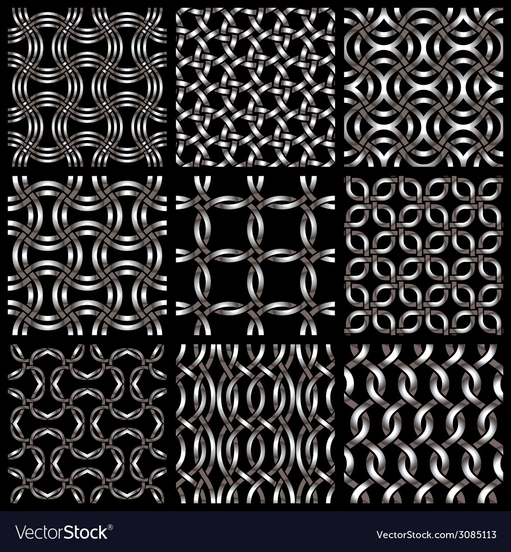 Metal netting seamless backgrounds set vector   Price: 1 Credit (USD $1)
