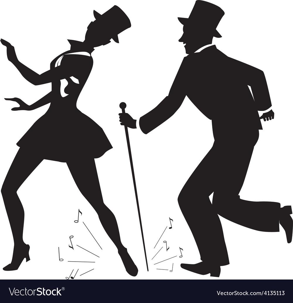 Tap dancers in top hats silhouette vector   Price: 1 Credit (USD $1)