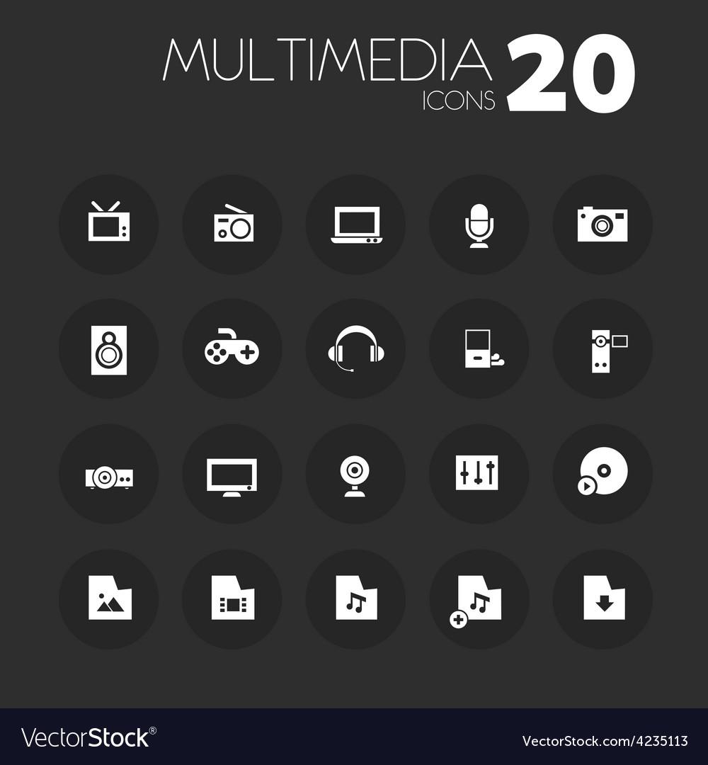 Thin multimedia icons on dark gray vector | Price: 1 Credit (USD $1)
