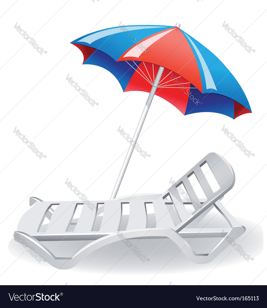 Umbrella sunshade and deckchair vector | Price: 1 Credit (USD $1)