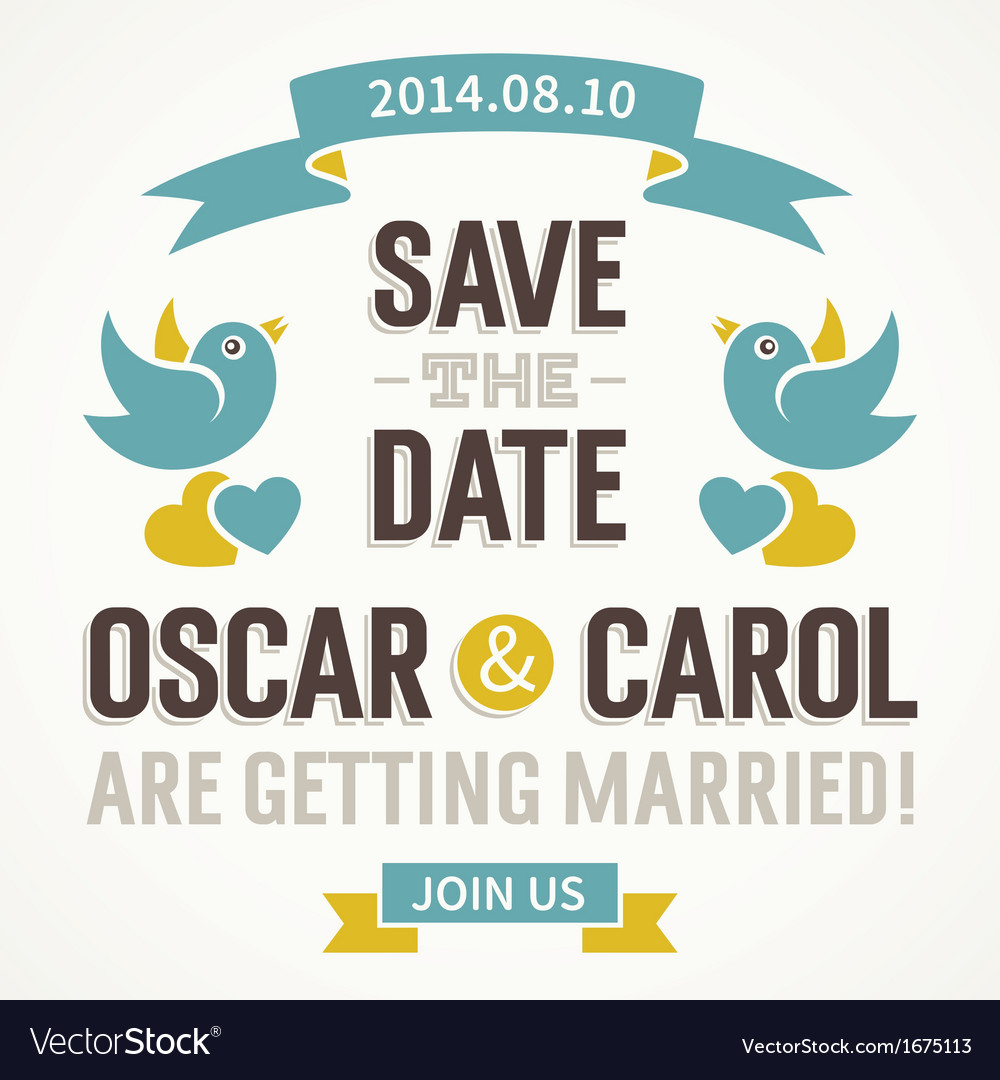 Wedding invitation with cute birds vector | Price: 1 Credit (USD $1)