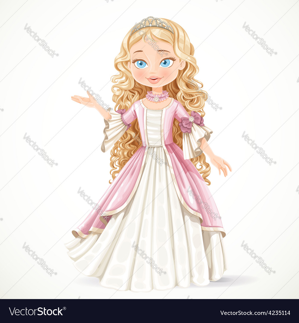 Beautiful young blond princess in a pink dress vector | Price: 3 Credit (USD $3)