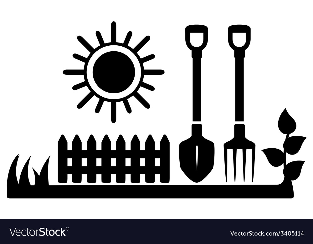 Black icon with sun and gardening tools vector | Price: 1 Credit (USD $1)