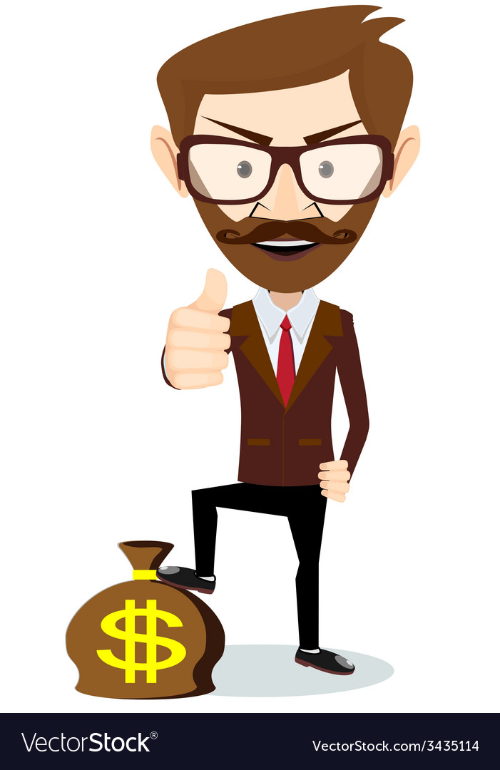 Businessman standing on the bag with dollars vector | Price: 1 Credit (USD $1)
