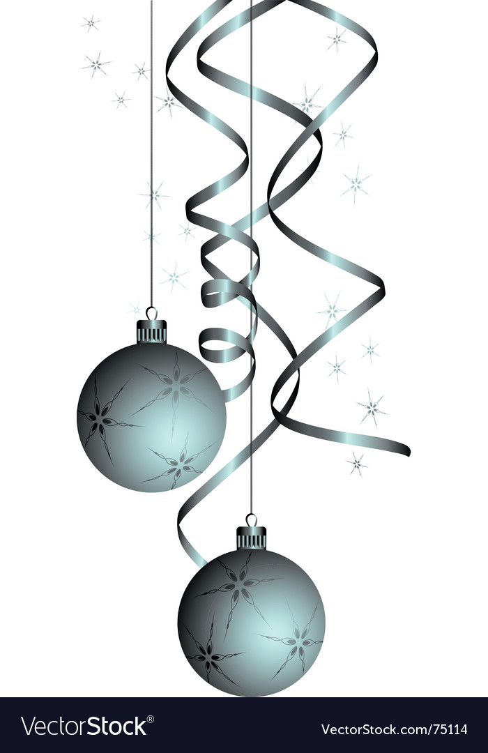 Christmas balls with a curly ribbon vector   Price: 1 Credit (USD $1)