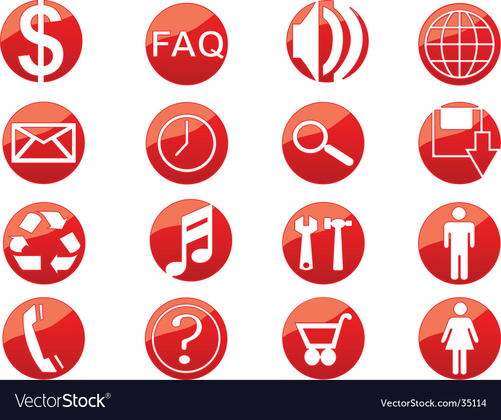 Media web buttons vector | Price: 1 Credit (USD $1)