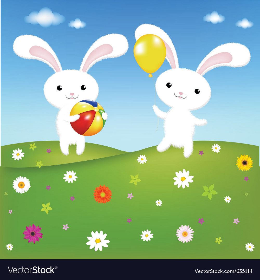 Rabbits and field vector | Price: 1 Credit (USD $1)
