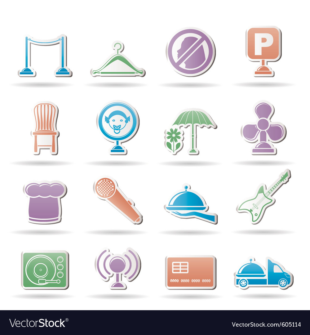 Restaurant and night club icons vector | Price: 1 Credit (USD $1)