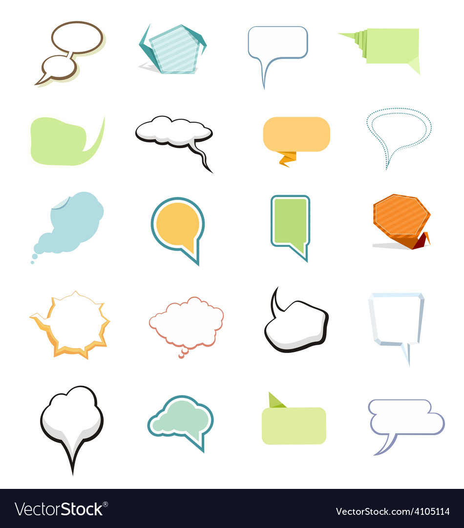 Set of comic bubbles and elements vector | Price: 1 Credit (USD $1)