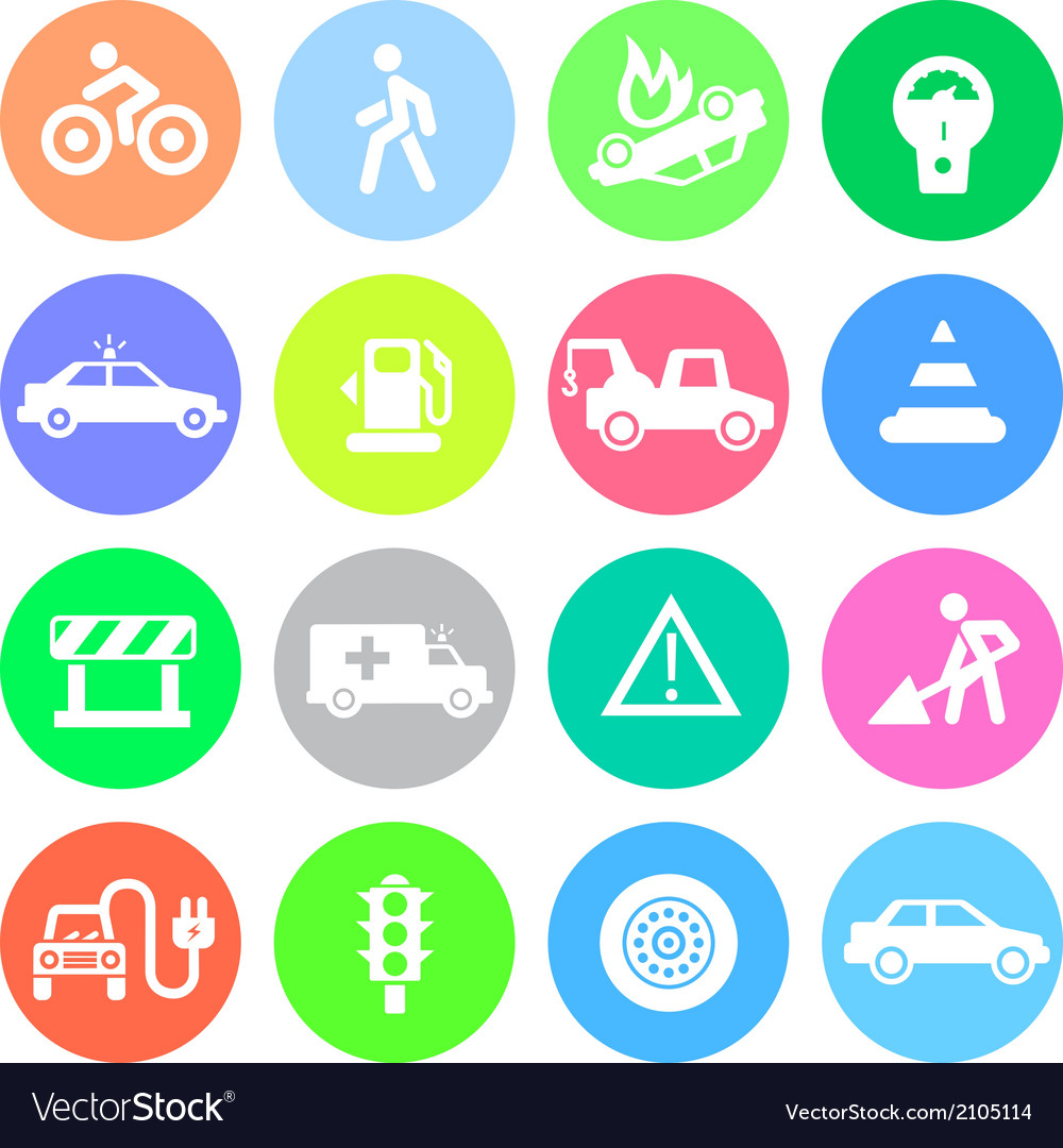Traffic application icons in color circles vector | Price: 1 Credit (USD $1)