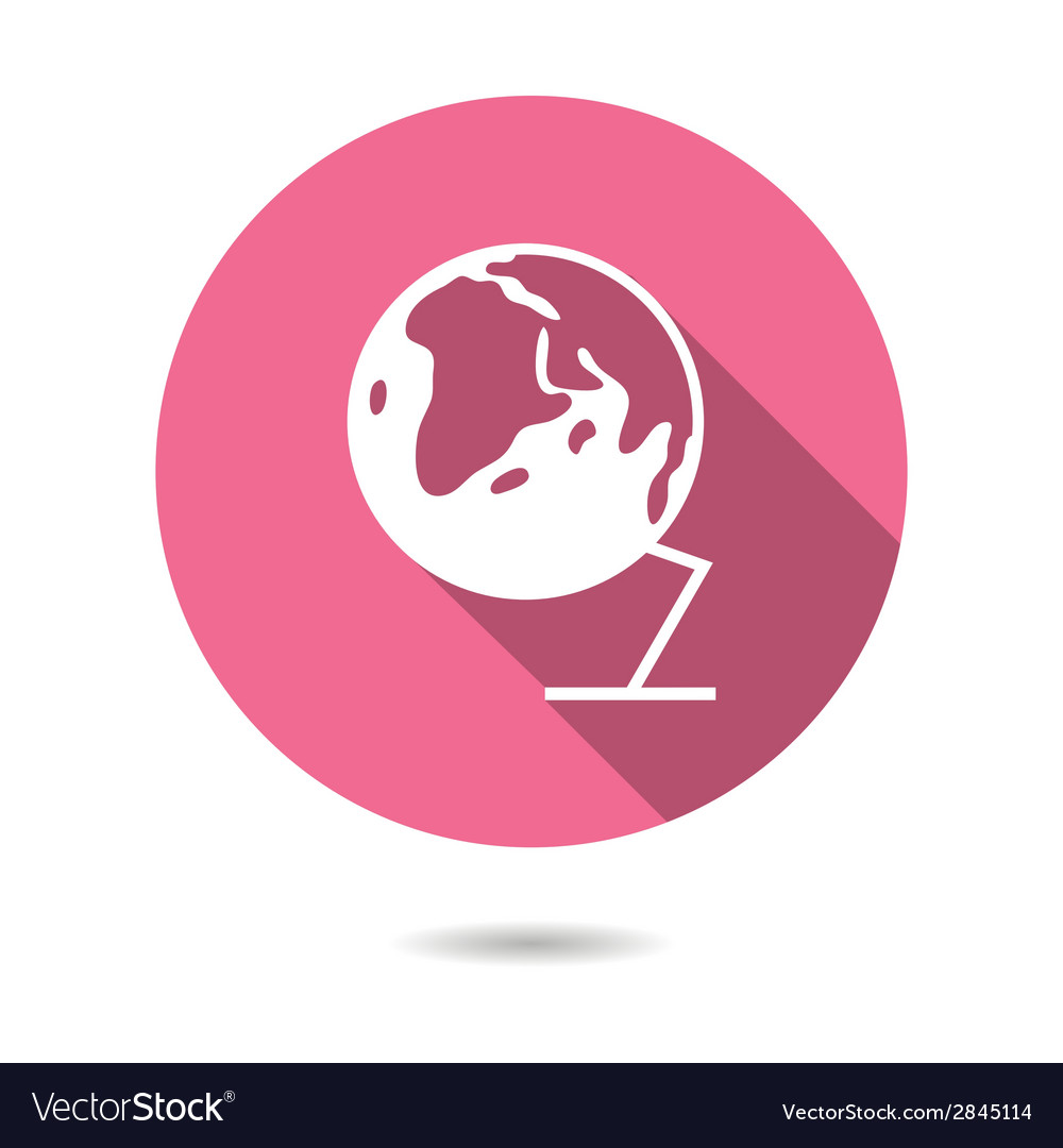 Trendy round globe earth icon with long shadow vector | Price: 1 Credit (USD $1)