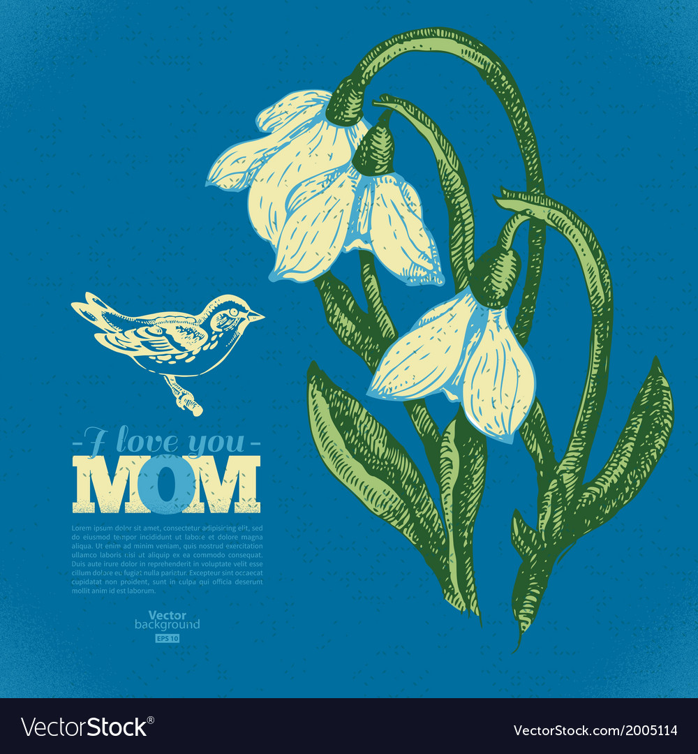 Vintage floral card with snowdrop and bird vector | Price: 1 Credit (USD $1)