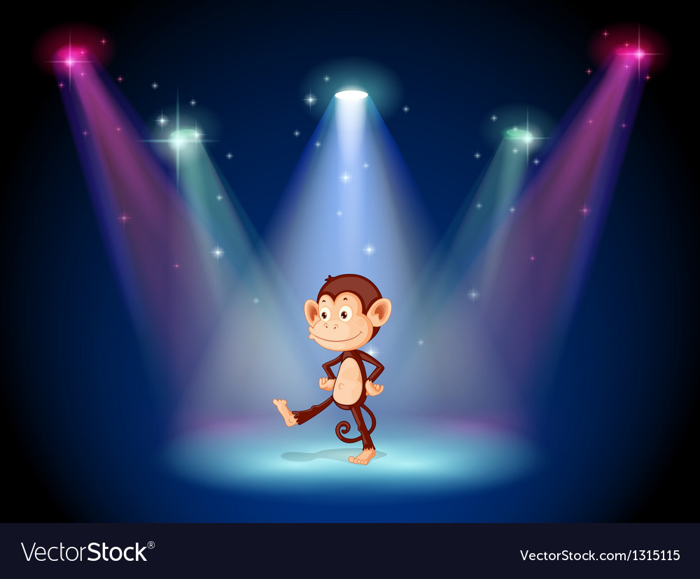 A monkey dancing on the stage with spotlights vector | Price: 1 Credit (USD $1)