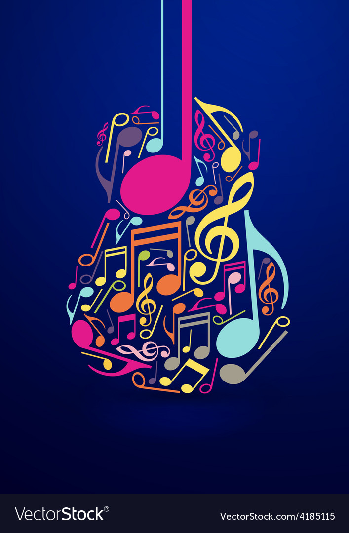 Abstract guitar and notes design vector