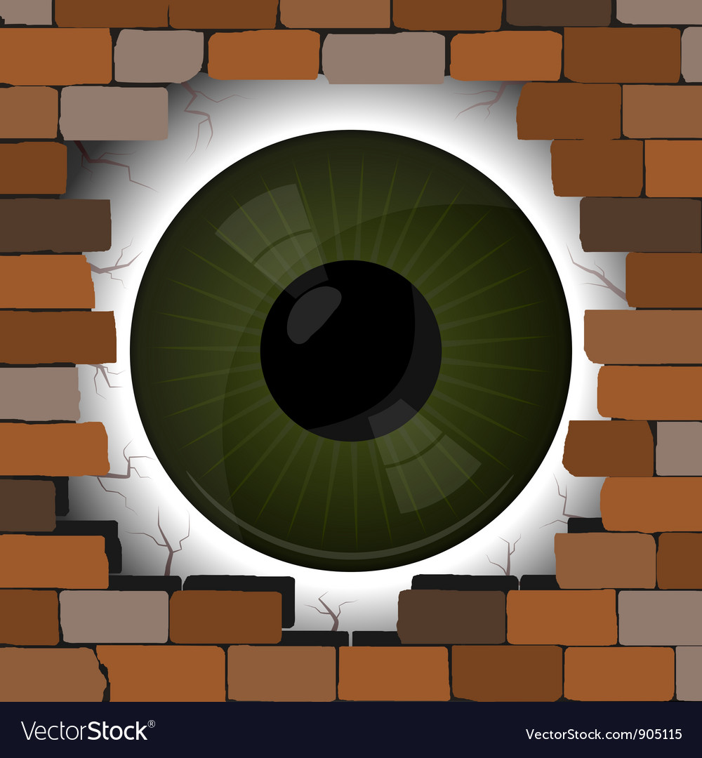 Big eye in the gap on the wall vector | Price: 1 Credit (USD $1)