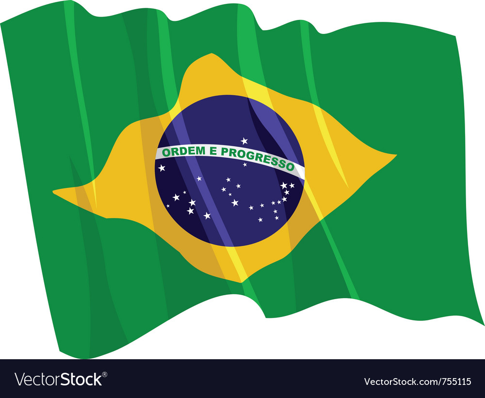 Political waving flag of brazil vector | Price: 1 Credit (USD $1)