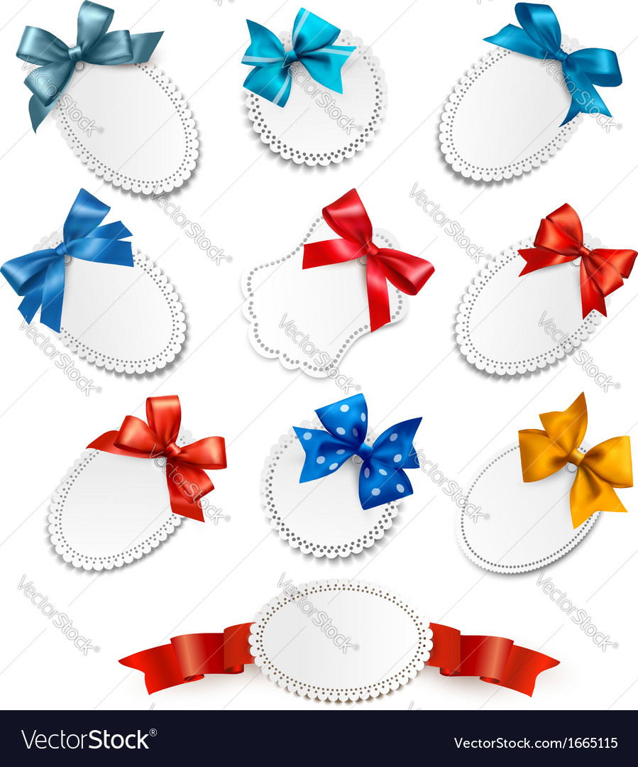 Set of beautiful cards with red gift bows with vector | Price: 1 Credit (USD $1)