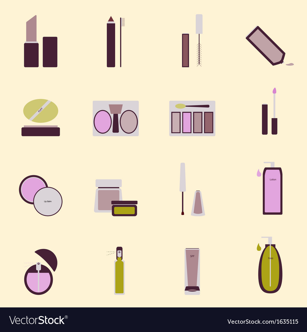 Set of cosmetic nude tone icons vector | Price: 1 Credit (USD $1)