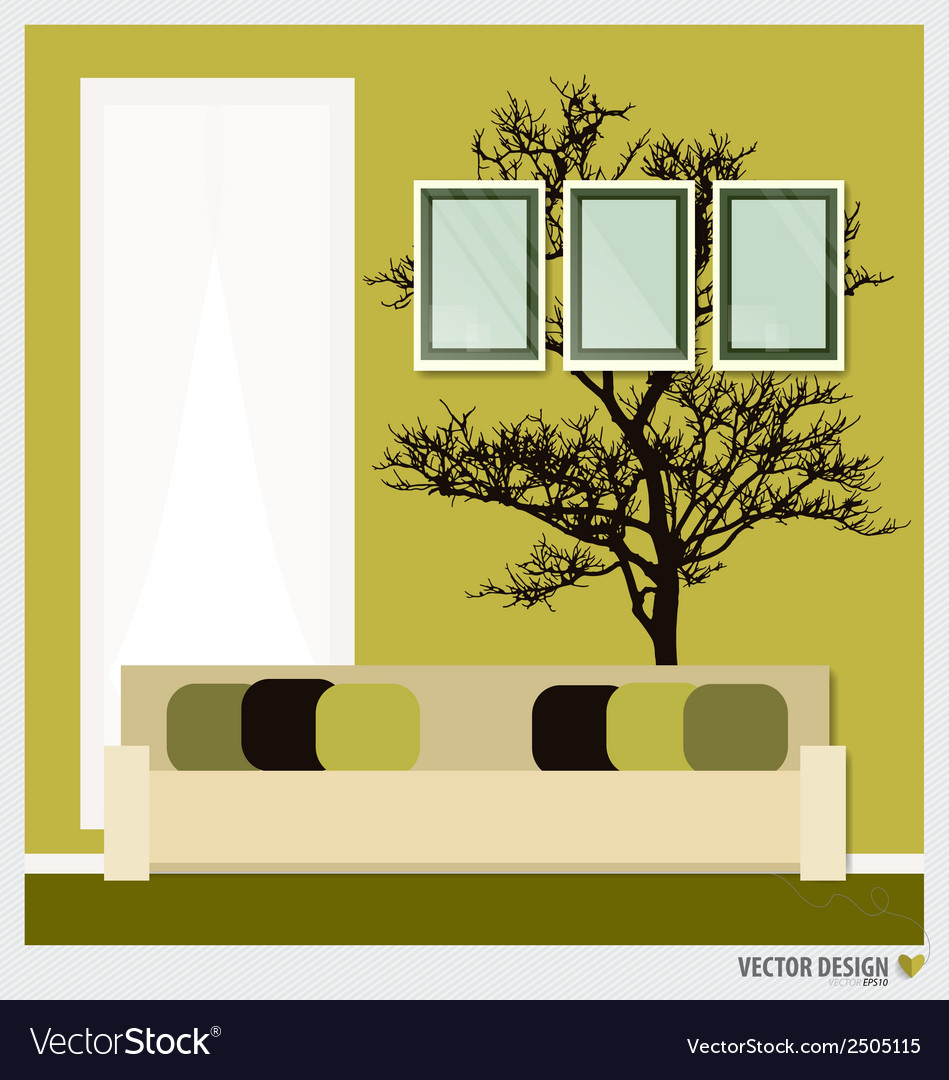 Three empty frames on a wall and decorative wall vector | Price: 1 Credit (USD $1)