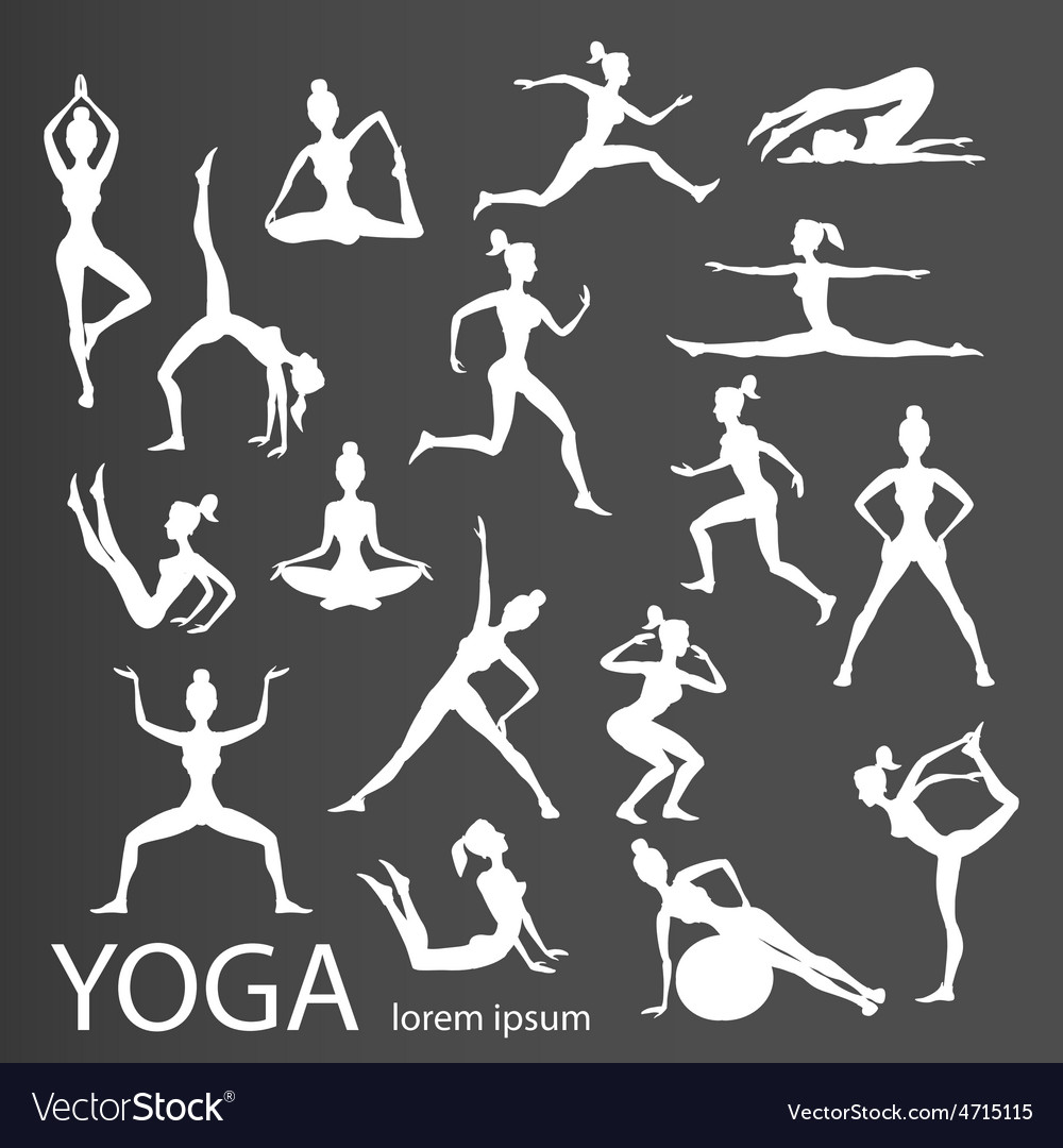 Yoga poses silhouettes body pose female vector | Price: 1 Credit (USD $1)