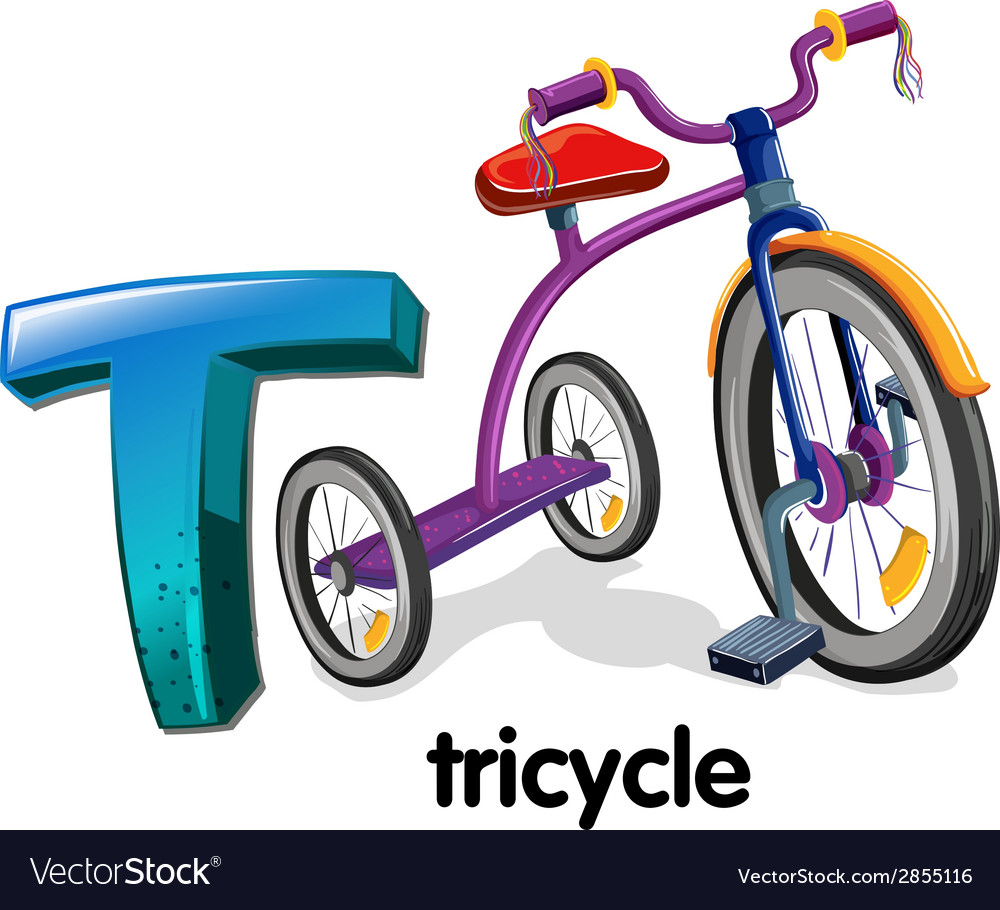 A letter t for tricycle vector | Price: 1 Credit (USD $1)