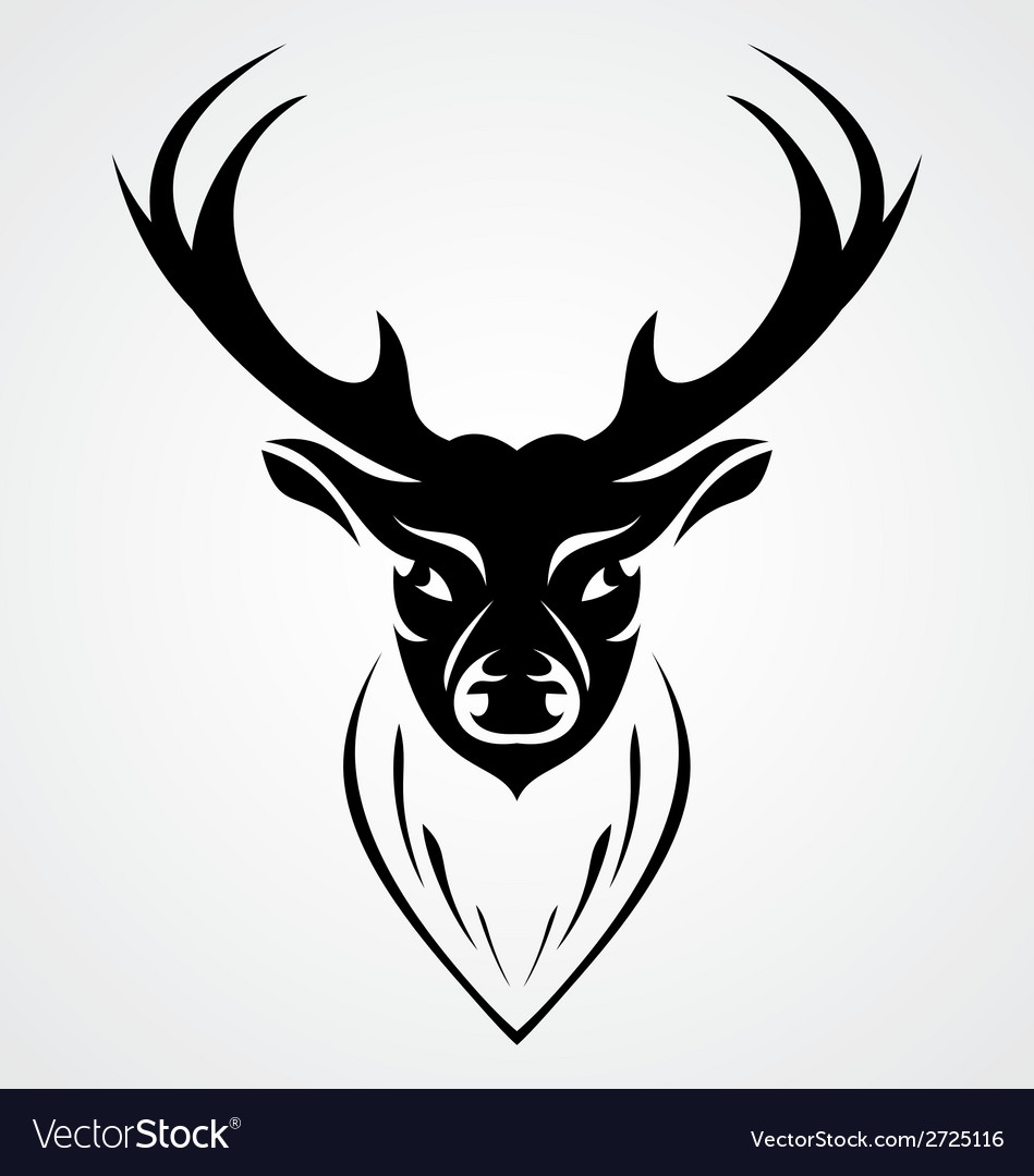 Black deer head vector | Price: 1 Credit (USD $1)