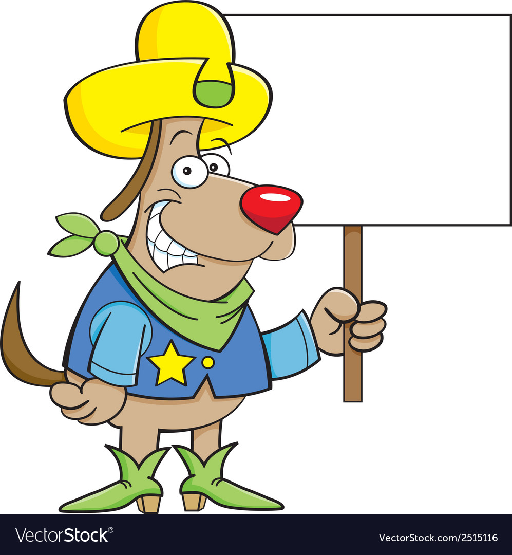 Cartoon cowboy dog holding a sign vector | Price: 1 Credit (USD $1)