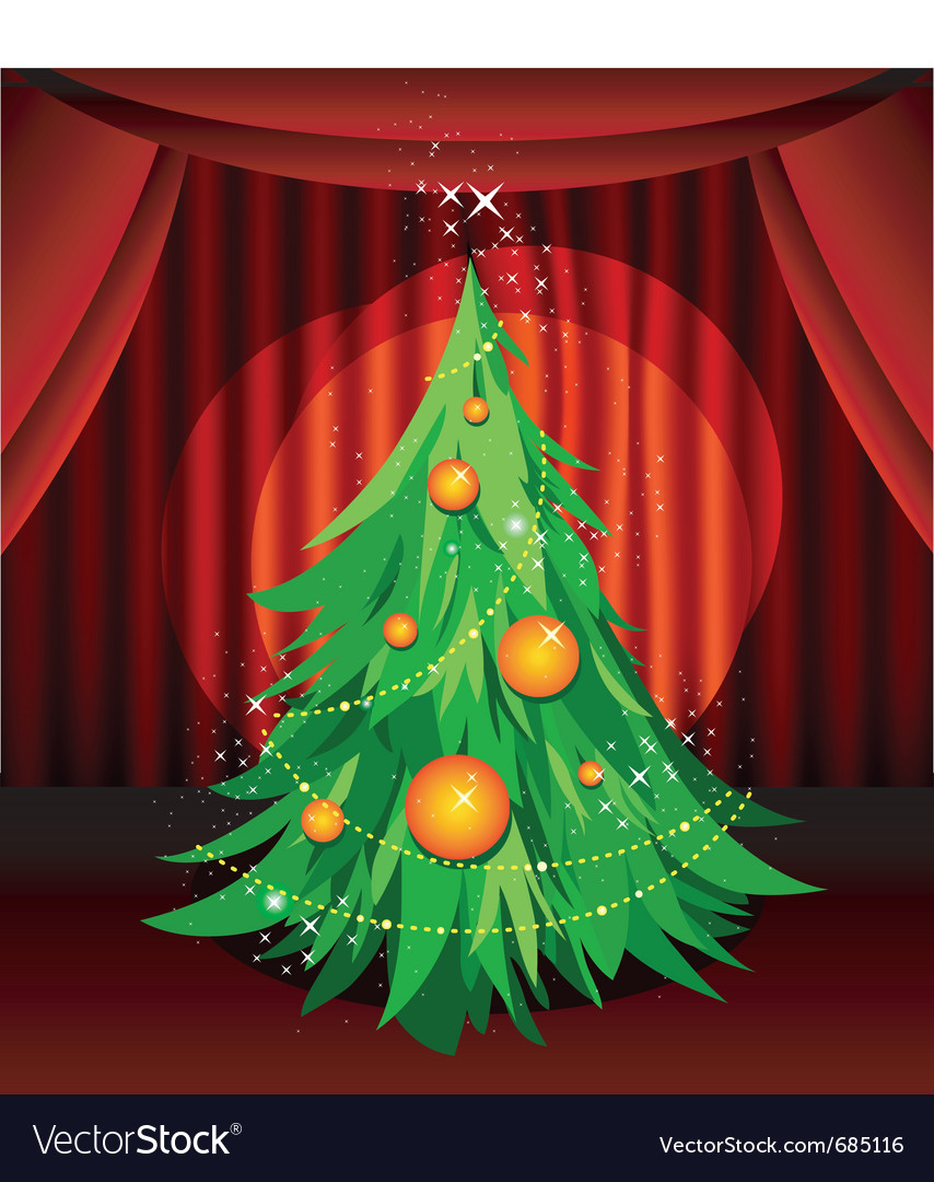 Christmas tree on stage vector | Price: 3 Credit (USD $3)